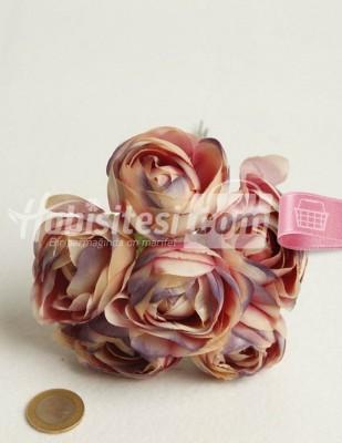 - Yapay Çiçek - Eflatun Pembe Ebruli - Çap 5 cm - 6 Adet / Demet