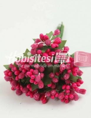 - Yapay Çiçek - Fusya - Çap 2 cm / Uzunluk 12 cm - 12 Dal / Demet