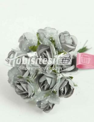 - Yapay Çiçek - Gri - Çap 2 cm / Uzunluk 10 cm - 12 Dal / Demet