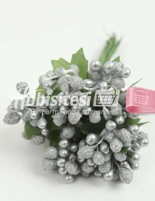 - Yapay Çiçek - Gri - Çap 2 cm / Uzunluk 12 cm - 12 Dal / Demet