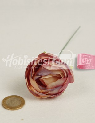 - Yapay Çiçek - Gül Kurusu Mor Ebruli - Çap 5 cm