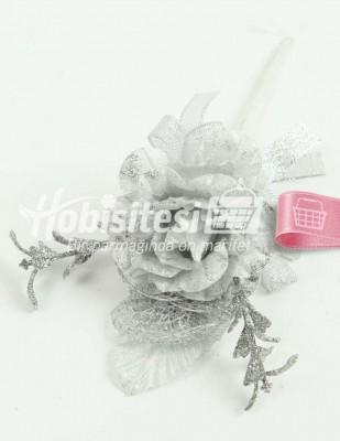 - Yapay Çiçek - Gümüş - Çap 6 cm / Uzunluk 19 cm