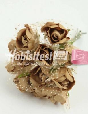 - Yapay Çiçek - Kahve - Çap 2 cm / Uzunluk 10 cm - 12 Dal / Demet