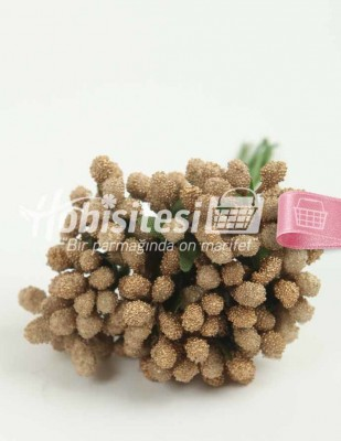 - Yapay Çiçek - Kahve - Çap 2 cm / Uzunluk 12 cm - 12 Dal / Demet