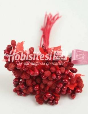 - Yapay Çiçek - Kırmızı - Çap 2 cm / Uzunluk 12 cm - 12 Dal / Demet