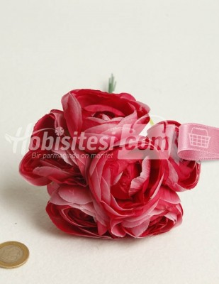 - Yapay Çiçek - Koyu Fuşya Ebruli - Çap 5 cm - 6 Adet / Demet