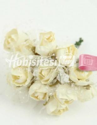 - Yapay Çiçek - Krem - Çap 2 cm / Uzunluk 10 cm - 12 Dal / Demet