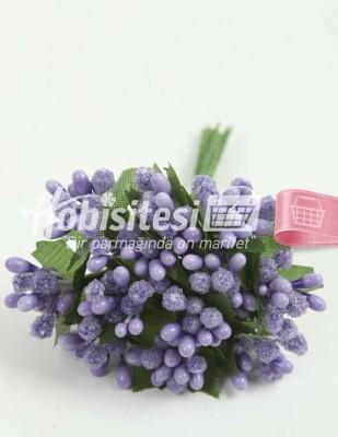 - Yapay Çiçek - Lila - Çap 2 cm / Uzunluk 12 cm - 12 Dal / Demet
