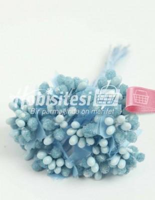 - Yapay Çiçek - Mavi - Çap 2 cm / Uzunluk 12 cm - 12 Dal / Demet