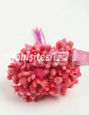 - Yapay Çiçek - Nar Çiçeği - Çap 2 cm / Uzunluk 12 c - 12 Dal / Demet