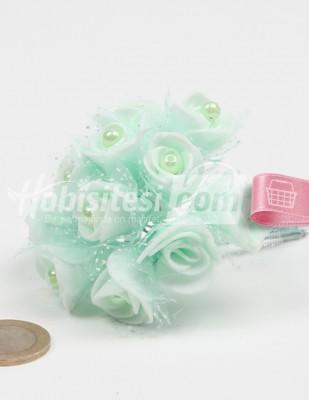 - Yapay Çiçek - Nil Yeşili - Çap 2 cm / Dal ile Uzunluk 10 cm - 12 Dal / Demet