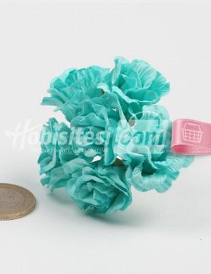 - Yapay Çiçek - Nil Yeşili - Çap 2,5 cm / Dal ile Uzunluk 10 - 6 Dal / Demet