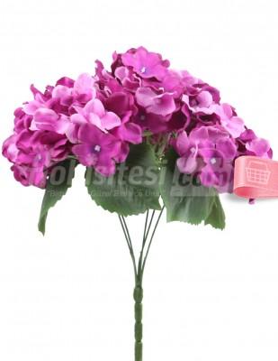 - Yapay Çiçek, Ortanca - 32 cm - Mor