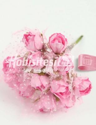 - Yapay Çiçek - Pembe - Çap 2 cm / Uzunluk 10 cm - 12 Dal / Demet