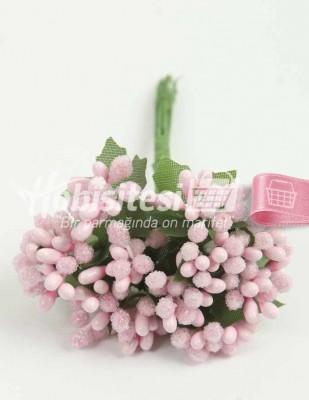 - Yapay Çiçek - Pembe - Çap 2 cm / Uzunluk 12 cm - 12 Dal / Demet