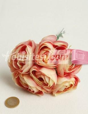 - Yapay Çiçek - Pembe Ebruli - Çap 5 cm - 6 Adet / Demet