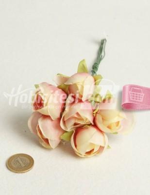- Yapay Çiçek - Pembe Ebruli - Çap Çiçek 3 cm - 6 Adet / Demet