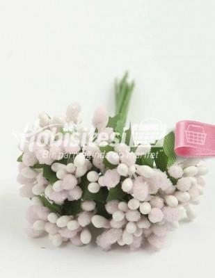 - Yapay Çiçek - Pudra - Çap 2 cm / Uzunluk 12 cm - 12 Dal / Demet