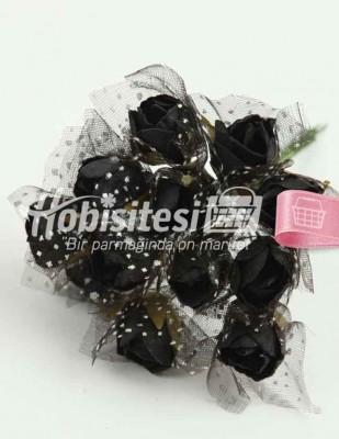 - Yapay Çiçek - Siyah - Çap 2 cm / Uzunluk 10 cm - 12 Dal / Demet