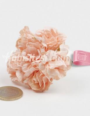 - Yapay Çiçek - Somon - Çap 2,5 cm / Dal ile Uzunluk 10 - 6 Dal / Demet