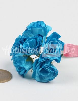 - Yapay Çiçek - Turkuaz - Çap 2,5 cm / Dal ile Uzunluk 10 - 6 Dal / Demet