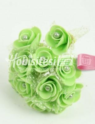 - Yapay Çiçek - Yeşil - Çap 2 cm / Uzunluk 10 cm - 12 Dal / Demet
