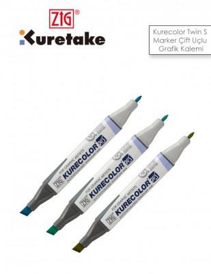 KURETAKE - ZİG Kurecolor Twin S Marker Çift Uçlu Grafik Kalemi,İnce ve Geniş Uç (1)